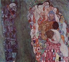 Cette œuvre s'intitule La Vie et la Mort et date de 1916. Klimt se sent vieillir et voit sa mort approcher (il mourra deux ans plus tard). Cette peinture reprend les thèmes qui lui sont chers : à droite, la Vie représentée à tous les âges de l'homme et...