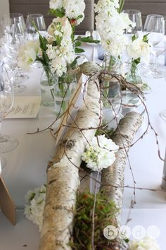 birch logs with floral accents. perfect for a contemporary table scape Ikea Wedding, Fall Wedding, Wedding Reception, Wedding Rustic, Wedding Rings, Diy Wedding Flowers, Flower Bouquet Wedding, Wedding Ideas, Wedding Hacks
