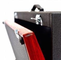 32x16 padauk wood salvage custom pedalboard with black tweed case