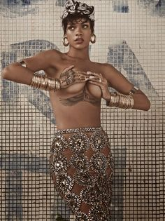 Rihanna + gold embellishments