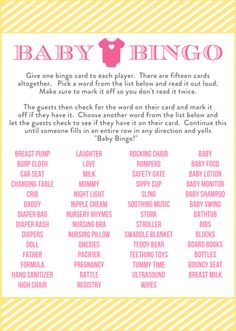 Free Baby Shower Bingo Printable Cards for a Girl Baby Shower | CatchMyParty.com