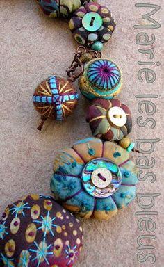 Fabric beads, buttons