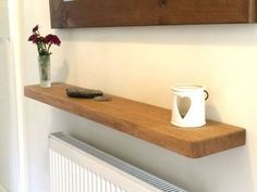 Solid Oak Floating Shelf Radiator Hall Kitchen Alcove Thick Wood, Free Fixings Thick, Natural Oil Finish with Optional Depth) Decor, Radiator Shelf, Kitchen Shelves, Floating Shelves Kitchen, Interior, Shelves, Oak Floating Shelves, Floating Shelves Living Room, Home Decor
