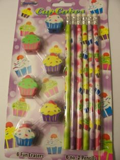 Pencil Topper Erasers and #2 Pencils ~ Cupcakes by Design Way. $7.99. Cupcakes. Contains 6 pencils and 6 topper erasers containing images related to the theme. Real wood pencils and latex free erasers!. non-toxic and fun!. Pencil Topper Erasers and #2 Pencils. Pencil Topper Erasers and #2 Pencils.  Contains 6 pencils and 6 topper erasers containing images related to the theme.  Real wood pencils and latex free erasers!  non-toxic and fun!