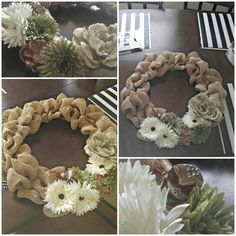I saw a cool burlap wreath on here, so I decided to put my own twist on it :) Wreath frame $2.49 @Wal-mart Bird $2.99 at Wal-Mart Burlap $6.99 at Michael's w/ 30%  Flowers $1.99- 7.99 each w/ 50% off at Michael's  Pearl Stickers $2.99 Hot Glue Gun $4.29 at Wal-Mart  #DIY, #BurlapWreath, #falldecor, #doordecorations, #frontdoor, #green, #tan, #white, #brow, #decor, #homeimprovement, #pearls, #birddecor, #birds, #naturalhomedecor, #rustichome, #countryhome, #seasonaldecor