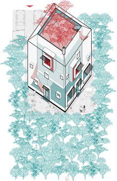 #architecture #axonometric #home #homecontext #landscape #illustration #architecturalimage #homeforfamily #homeconcept #aplusnoima Architecture Graphics, Landscape Illustration, Collage, Concept, Image, Collage Illustration, Collages