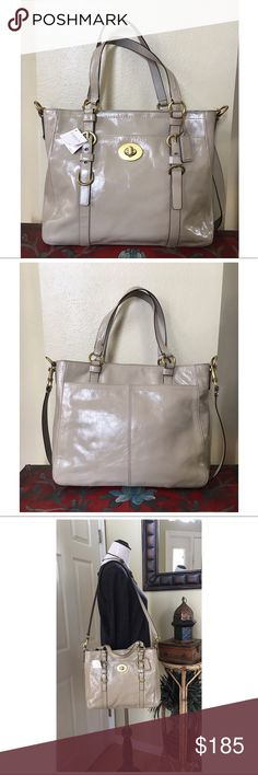 """COACH CHELSEA PATENT LEATHER BAG F14022 New with tags.  Coach Chelsea patent leather convertible shoulder bag in the color Putty. Features brass tone hardware. Large front pocket with toggle closure. Large rear pocket. Zipper closure for main compartment, 1 zipper pocket and 2 small slip pockets. There is some darkening of glue on the shoulder strap (pic#2) and on one corner (pic #4) Small dark scuffs on back ( pic#7) ALL MEASUREMENTS ARE APPROXIMATE: 13.25"""" L X 11.0"""" H X 4.0"""" D 17.0""""…"""