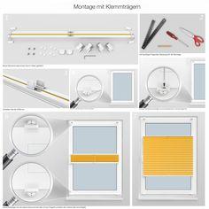 Montage mit Klemmträgern:                             Sie befestigen ein Klemmfix Plissee ohne den Fensterrahmen zu beschädigen. Interessieren Sie sich für diese Montageart? Hier geht's zu weiteren Infos: http://www.plissee-zeit.de/montage-C.php
