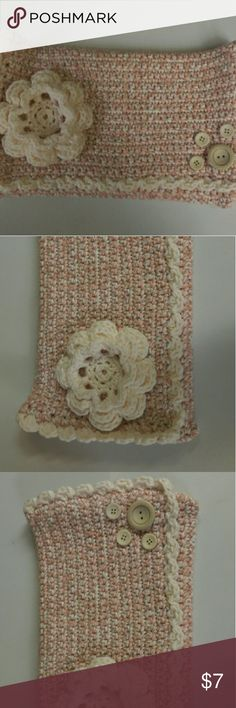 """Pink handmade knitted clutch purse / hand bag Super cute knitted  (crocheted?) clutch bag with knitted flower on front. Velcro closure. Open inside; no pockets or handle. Approx. 9.5""""x6"""". Bags Clutches & Wristlets"""