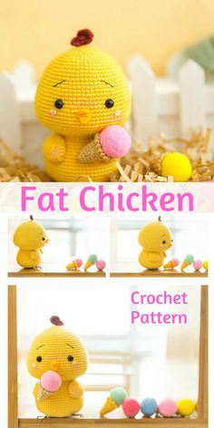 Fat Chicken loves icecream :-) This chicken amigurumi is adorable and is the perfect spring (or Easter) decoration #chicken #ad #amigurumi #pattern #etsy #springdecor