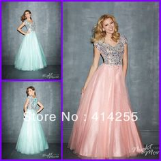 2014 New Fashion  Coral Mint Corset and Tulle Lace up Floor Length Modest Cap Sleeves Shimmering Prom Dance Dresses Cheap