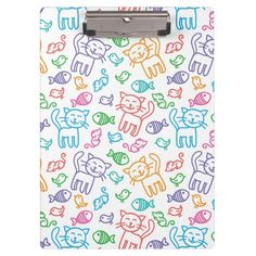 cat pattern clipboard-A hand drawn seamless pattern with funny multicolored cats.