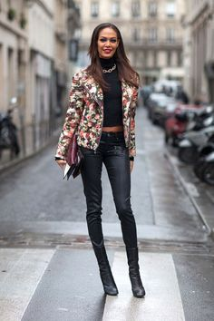 Spring 2014 Couture Week Street Style: Joan Smalls Photo Credit: Diego Zuko