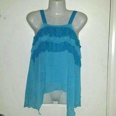 Turquoise blue ruffle adj strap tank top