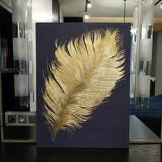 Golden pen Collage by Olga Avdonkina Art Deco Paintings, Modern Art Paintings, Gold Leaf Paintings, Texture Painting On Canvas, Acrylic Painting Canvas, Bild Gold, Gold Leaf Art, Gold Art, Feather Art