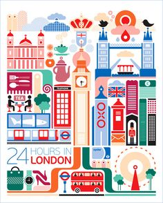 """24 Hours In London, Fernando Volken Togni series of """"24 Hours in …"""" prints // #graphicDesign #travel"""