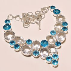 """117 gms EXCELLENT WHITE TOPAZ WITH SWISS BLUE TOPAZ .925 SILVER NECKLACE 18"""" #Handmade #Pendant"""