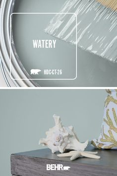 If you're looking for a neutral hue with a hint of color, BEHR® Paint in Watery is always a stylish choice. This blue wall color can easily be paired with wood furniture and seashells to create a… Blue Wall Colors, House Colors, Nautical Paint Colors, Watery Paint Color, Dinning Room Paint Colors, Wall Painting Colors, Living Room Wall Colors, Teal Paint, Bedroom Paint Colors