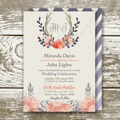 Antler Watercolor Wedding Invite and RSVP by KeepingCaseyDesigns
