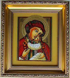 Ukrainian Hutsul Virgin Mary Jesus Icon Reverse Painting on Glass Khacko 13 | eBay
