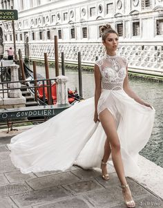 julie vino spring 2018 bridal sleeveless illusion high neck sweetheart neckline heavily embellished bodice flowy skirt romantic sexy a  line wedding dress covered lace back chapel train (01) mv -- Julie Vino Spring 2018 Wedding Dresses