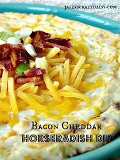 Horseradish is one of those manly man foods around here (all the guys seem to really dig it) which is why this Hot Bacon Cheddar Horseradish Dip is perfect for this time of year - it's great game time food. Appetizer Dips, Appetizer Recipes, Horseradish Dip, Slow Cooker Recipes, Cooking Recipes, Cooking Tips, Bacon Dip, Chips And Salsa, Dip Recipes