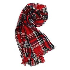 Women Colorful Plaid Double Faced Knitted Tweed Scarf Shawl ($11) ❤ liked on Polyvore featuring accessories, scarves, red shawl, shawl scarves, tartan plaid scarves, reversible scarves and red plaid shawl