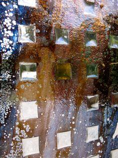 Detail of slumped glass, lustred exhibition piece.: Mark Howard Glassworks, Melbourne.
