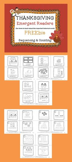 This FREEIE is a set of two different Thanksgiving EMERGENT READERS! Thanksgiving Facts, Thanksgiving History, Thanksgiving Preschool, Thanksgiving Prints, Thanksgiving Worksheets, Kindergarten Reading, Kindergarten Activities, Teaching Reading, Teaching Ideas
