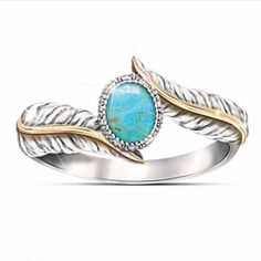 925-Sterling-Silver-Turquoise-Gems-Ring-Men-Women-Wedding-Party-Gypsy-Size-6-10