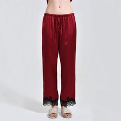 mulberry silk lounge pjs pants for womens, with elastic waist for easy comfort and lace trimmed cuffs for added luxury and elegance! Silk Sleepwear, Silk Pajamas, Nightwear, Silk Chemise, Silk Nightgown, Silk Pants, Mulberry Silk, Night Gown, Lace Trim