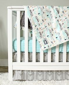 This listing is for a custom bedding set from Giggle Six Baby. This listing includes: Crib Skirt Blanket Crib Sheet **** Crib Skirt - 14 drop,