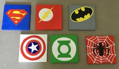 Superhero canvas paintings. DIY
