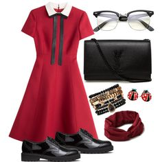 A fashion look from August 2015 featuring Valentino dresses, H&M oxfords and Yves Saint Laurent shoulder bags. Browse and shop related looks.