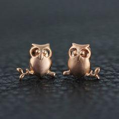 Stud Earrings – Owl earrings 925 Sterling silver stud earrings – a unique product by TO_Design on DaWanda