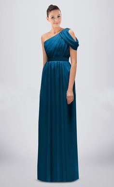 Ruched Draped One-shoulder Floor-length Column Bridesmaid Dress