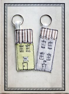 Freehand Embroidered Key Chain/Ring   by RabbitHoleCorner on Etsy, £5.00       ~ You could also do similar ones, but make cars instead of houses.
