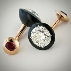 """Diamond, black jade, ruby and rose gold cufflinks. #taffinjewelry #taffin #jamesdegivenchy"""