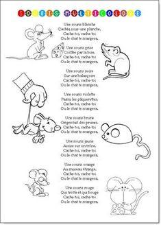 Une chanson de maternelle qui ne compte que 3 couplets dans sa version originale (souris blanche, souris brune, souris grise) mais que l'on trouve en version augmentée à droite à gauche. Voi…
