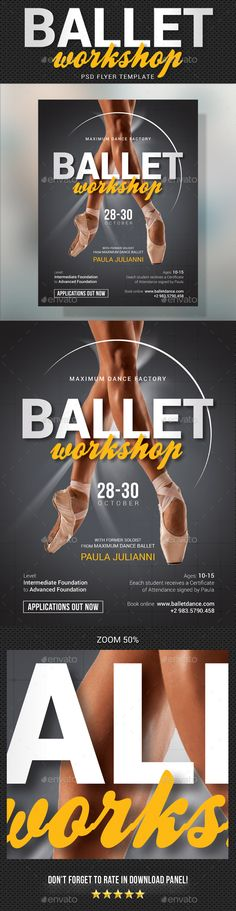 Buy Ballet Workshop Flyer by rapidgraf on GraphicRiver. Create bold flyers, ads or presentations with this PSD template to give your business or company a professional desig. Event Flyer Templates, Psd Templates, Parenting Workshop, Photo Social Media, Technology Photos, Opus, Photo Link, Grafik Design, Christmas Design