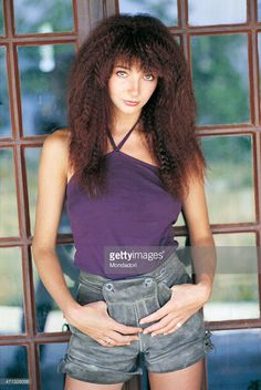 The British singer Kate Bush, posing for a photo shoot. Italy 1978
