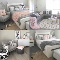 Grey and pink bedroom Pink Bedroom Decor, Pink Bedrooms, Gold Bedroom, Bedroom Themes, Teen Bedroom, Pink Gray Bedroom, Teenage Bedrooms, Cute Bedroom Ideas, Cute Room Decor