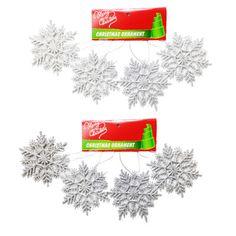 Assorted Glitter Snowflake Decorations 9cm Pk 8