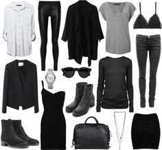 the perfect basic wardrobe by toutestparfait featuring costume national Hervé Léger beaded cocktail dress, $965 / T By Alexander Wang crew neck sweater, $345 / Zara colorful shirt / French Connection , $50 / 3.1 Phillip Lim collarless blazer / Black trench coat / Helmut Lang leather pants / Cosabella / A|Wear black skirt, $12 / Acne boots / Costume National / Acne bag / MICHAEL Michael Kors bangle bracelet watch / Miss Selfridge , $7.75 / Illesteva round sunglasses, $200