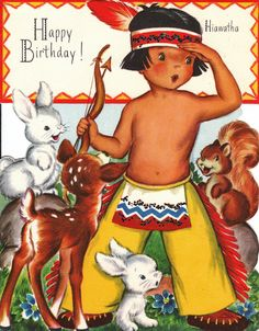 Vintage Fairfield 1950s Happy Birthday Hiawatha Greetings Card (B6). $8.00, via Etsy.