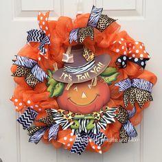 Fall Wreath, It's Fall Y'all Wreath, Fall Pumpkin Wreath, Scarecrow Wreath, Fall Mesh Wreath, Autumn Mesh Wreath, Fall Deco Mesh Wreath by WelcomingWreathsMore on Etsy https://www.etsy.com/listing/459353542/fall-wreath-its-fall-yall-wreath-fall