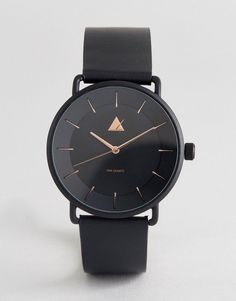 ASOS Watch In Black With Rose Gold Highlights - Black