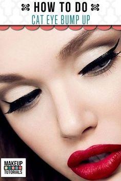 Winged Eyeliner and Bold Red Lips Droopy Eye Makeup, Droopy Eyes, Eye Makeup Tips, Diy Makeup, Makeup Trends, Best Eyeliner, Eyeliner Looks, Black Eyeliner, Winged Eyeliner