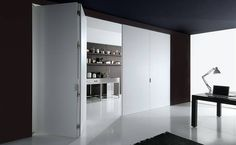 Partition wall white folding door