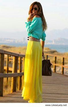 Long yellow plised maxi skirt, cute
